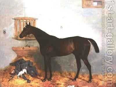 Thoroughbred in a Stable by Harry Hall - Reproduction Oil Painting