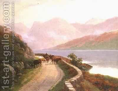 Drover with Cows by Lake Buttermere Evening by H.R. Hall - Reproduction Oil Painting