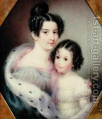 Mrs Charles Alexander Clinton Ann Hone and her Daughter by Ann Hall - Reproduction Oil Painting