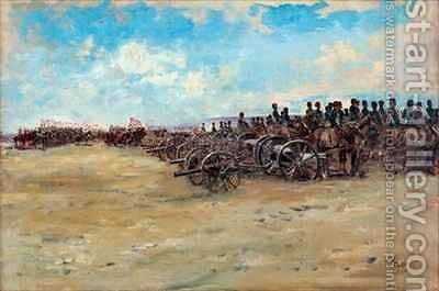 Royal Horse Artillery and Lancers waiting to move off by Edward Matthew Hale - Reproduction Oil Painting