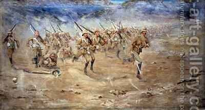 Return of the Fore and Aft Gloucestershire Regiment advancing to the attack India North West Frontier by Edward Matthew Hale - Reproduction Oil Painting