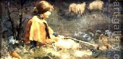 The Young Shepherdess by E. Thomas Hale - Reproduction Oil Painting