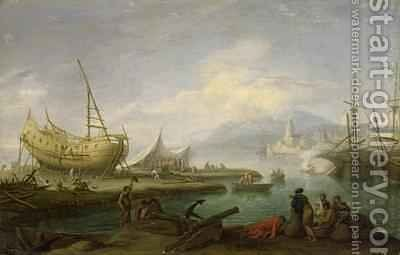 Coastal Landscape by Jakob Philippe Hackert - Reproduction Oil Painting