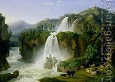 The Waterfall at Tivoli by Jakob Philippe Hackert - Reproduction Oil Painting