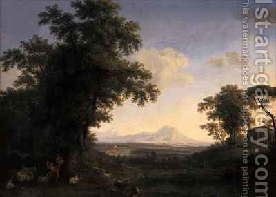 Arcadian Landscape by Jakob Philippe Hackert - Reproduction Oil Painting