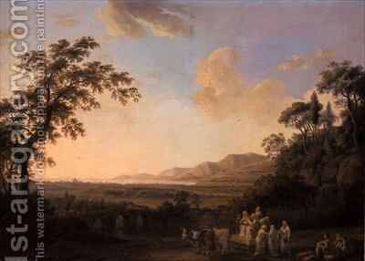 Idyllic landscape at dusk by Jakob Philippe Hackert - Reproduction Oil Painting