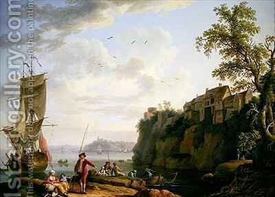 Fishermen by a Moored Vessel with a Village by Jakob Philippe Hackert - Reproduction Oil Painting