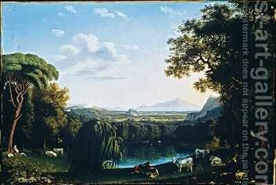 The English Garden of Caserta with views of Vesuvius by Jakob Philippe Hackert - Reproduction Oil Painting