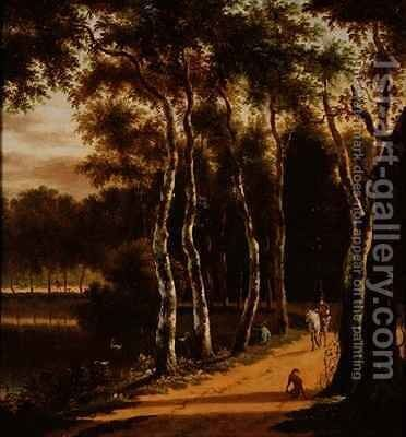 An Avenue of Birches Beside a River by Jan Hackaert - Reproduction Oil Painting