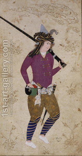 Youthful hunter with gun by Habibullah of Meschhed - Reproduction Oil Painting