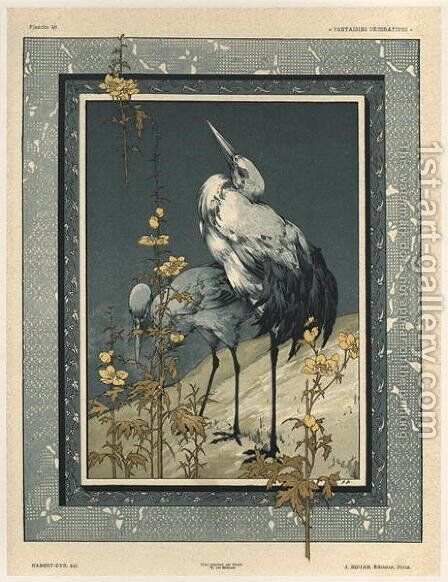 Storks plate 40 from Fantaisies decoratives by (after) Habert-Dys, Jules-Auguste - Reproduction Oil Painting