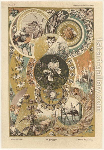 Circles plate 27 from Fantaisies decoratives by (after) Habert-Dys, Jules-Auguste - Reproduction Oil Painting