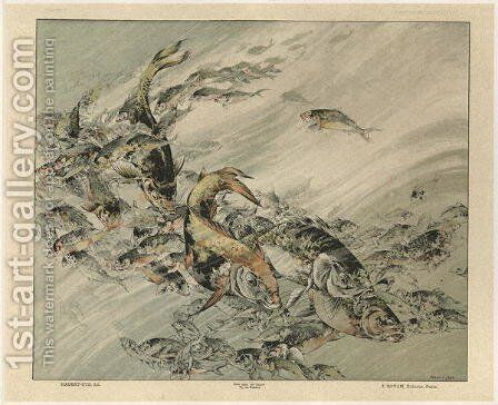 Fishes plate 7 from Fantaisies decoratives by (after) Habert-Dys, Jules-Auguste - Reproduction Oil Painting