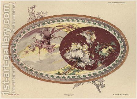 Birds and flowers plate 19 from Fantaisies decoratives by (after) Habert-Dys, Jules-Auguste - Reproduction Oil Painting