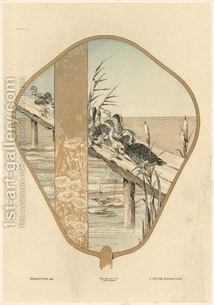 Fan plate 1 from Fantaisies decoratives by (after) Habert-Dys, Jules-Auguste - Reproduction Oil Painting