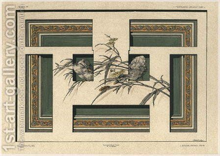 Ducks plate 46 from Fantaisies decoratives by (after) Habert-Dys, Jules-Auguste - Reproduction Oil Painting