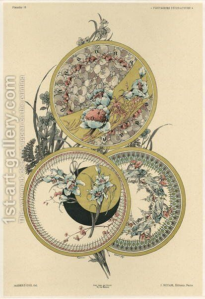 Flowers and flies plate 12 from Fantaisies decoratives by (after) Habert-Dys, Jules-Auguste - Reproduction Oil Painting