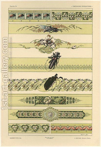 Beetles plate 14 from Fantaisies decoratives by (after) Habert-Dys, Jules-Auguste - Reproduction Oil Painting