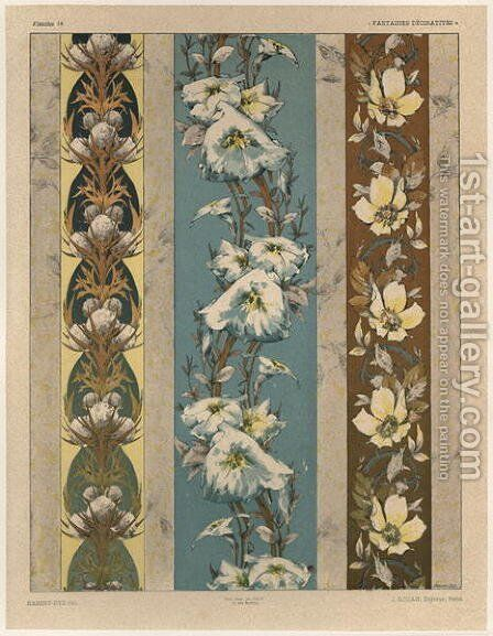 Flowers plate 18 illustration from Fantaisies decoratives by (after) Habert-Dys, Jules-Auguste - Reproduction Oil Painting