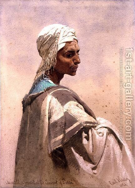 Auwatt a Servant at the Convent of Sinai by Carl Haag - Reproduction Oil Painting