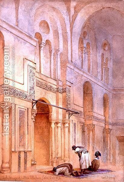 In the Mosque of Sultan Allahoon Cairo by Carl Haag - Reproduction Oil Painting