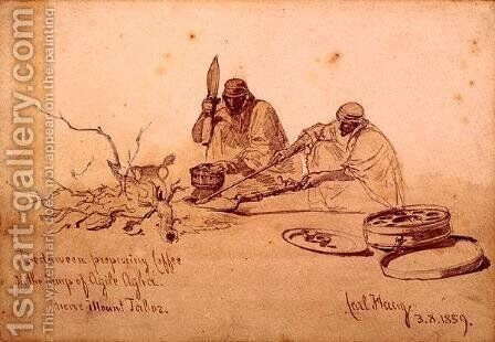 Bedouins preparing Coffee in the Camp of Agile Agha Near Mount Jaboz by Carl Haag - Reproduction Oil Painting