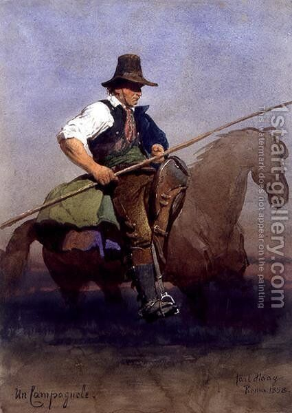 Un Campagnole a Roman peasant on horseback by Carl Haag - Reproduction Oil Painting