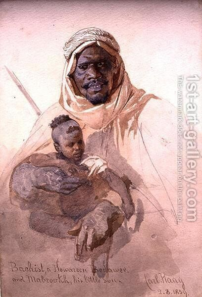 Bachist a Howazeen Bedawee and Mabzookh his little Son by Carl Haag - Reproduction Oil Painting