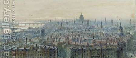 Panorama of London from the top of the Monument looking west by Carl Haag - Reproduction Oil Painting