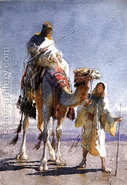 The Shaik and his Guide by Carl Haag - Reproduction Oil Painting