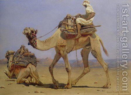 Camel Preparing to Lie Down by Carl Haag - Reproduction Oil Painting