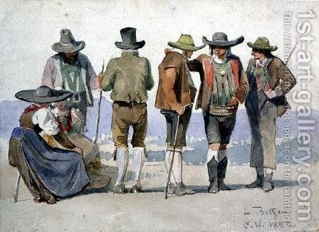 A group study in Botzen by Carl Haag - Reproduction Oil Painting