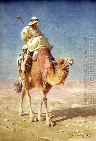 A Bedaween on a Camels Back by Carl Haag - Reproduction Oil Painting