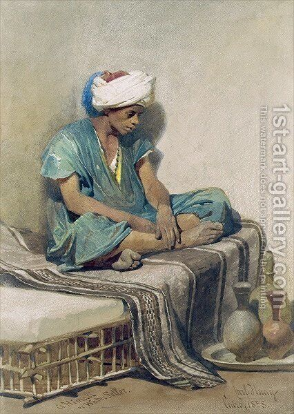 A Himali or water seller by Carl Haag - Reproduction Oil Painting