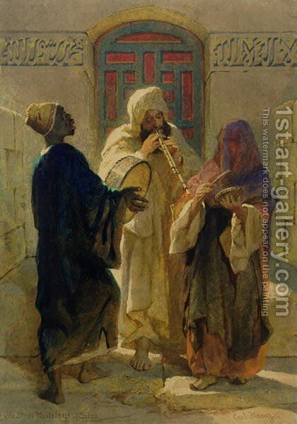The Street Musicians of Cairo by Carl Haag - Reproduction Oil Painting