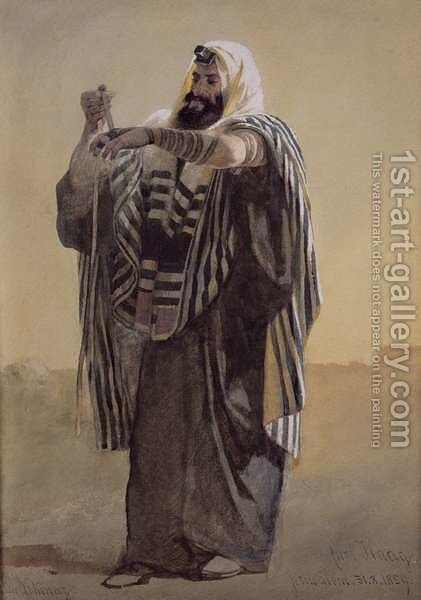 A Jerusalemite Shepherd Winding the Phylacteries for the Hand by Carl Haag - Reproduction Oil Painting