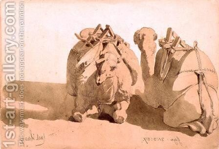Study of camels by Carl Haag - Reproduction Oil Painting