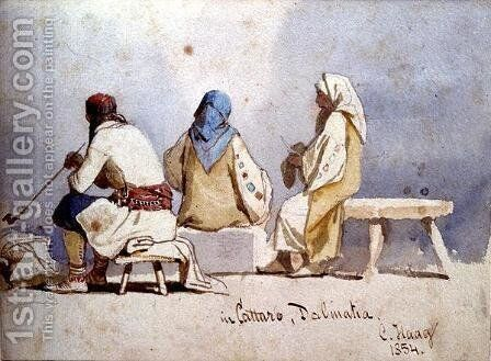 Montenegrin People at Cattaro Dalmatia by Carl Haag - Reproduction Oil Painting