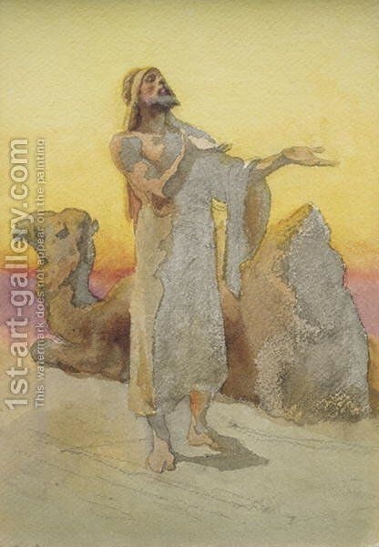 Study of an Arab Praying in the Desert with his Camel by Carl Haag - Reproduction Oil Painting