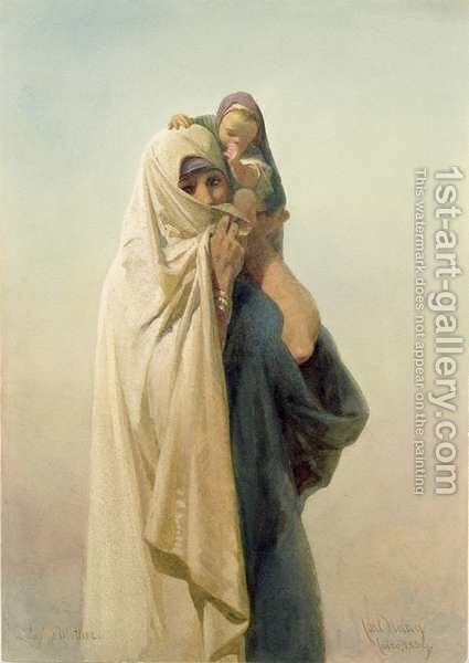 A Coptic Mother by Carl Haag - Reproduction Oil Painting