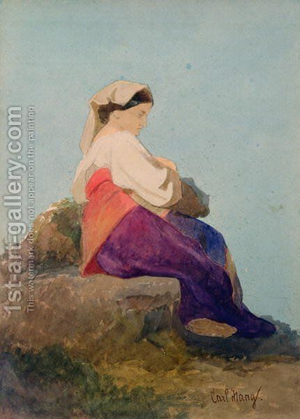 Una Chiochiara study of an Italian peasant girl by Carl Haag - Reproduction Oil Painting