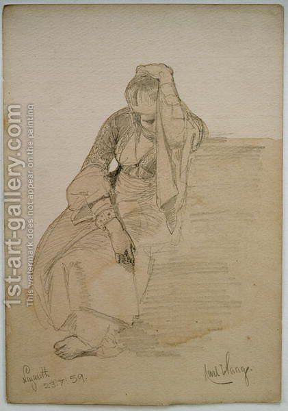 Study of a seated lady Nazareth by Carl Haag - Reproduction Oil Painting