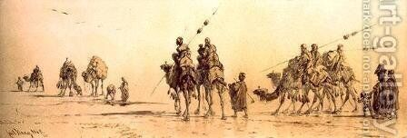 A Caravan of Bedouin Approaching a Well in the Desert by Carl Haag - Reproduction Oil Painting