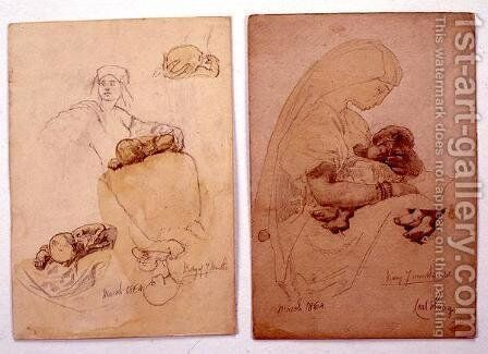 Two studies of a mother and child by Carl Haag - Reproduction Oil Painting