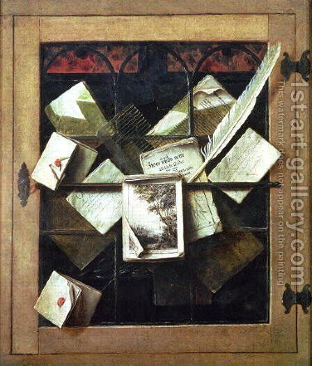 Trompe loeil with letters and notebooks by Cornelis Norbertus Gysbrechts - Reproduction Oil Painting