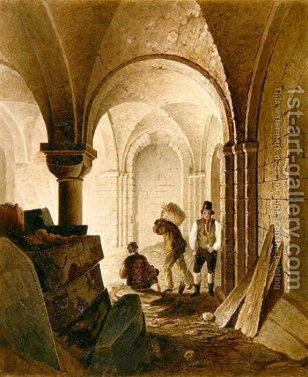 St Mary Le Bow Crypt by C.E. Gwilt - Reproduction Oil Painting