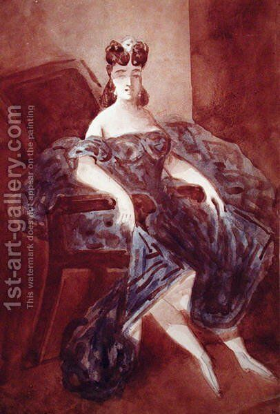 Woman Seated in an Armchair by Constantin Guys - Reproduction Oil Painting