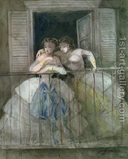 Girls on the Balcony by Constantin Guys - Reproduction Oil Painting
