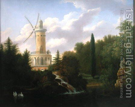 Windmill at the Folie Beaujon in Paris by Antoine Patrice Guyot - Reproduction Oil Painting