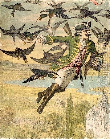 Illustration from The Adventures of Baron Munchausen Leipzig by Gustave Gutknecht - Reproduction Oil Painting